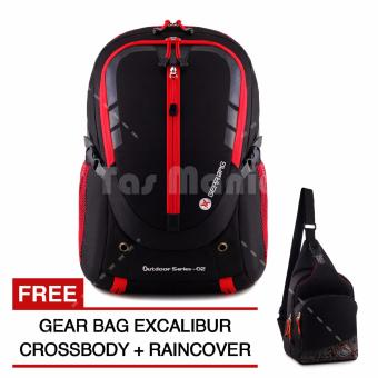 Gear Bag - Cyborg X23 Laptop Backpack - Black Red + Raincover + FREE Gear Bag Excalibur Crossbody BR2