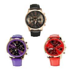 Geneva Bundle Watch 6381xx Jam Tangan Wanita Faux Leather Wrist Watch (Hitam, Merah Dan Ungu)