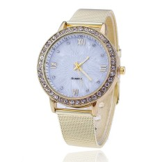 GENEVA Gold Stainless Steel Women Rhinestone Watch Ladeis Fashion Dress Quartz Watches (Gold)