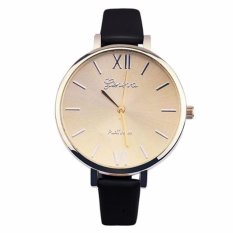 Geneva Jam Tangan Wanita Fashion Analog Quartz Women Lady Kulit PU Watch - Black