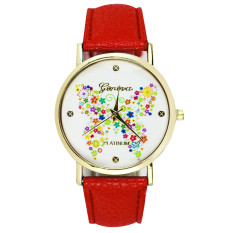 Geneva Women Butterfly Watch Dial Leather Casual Watch Analog Quartz Red (Intl)