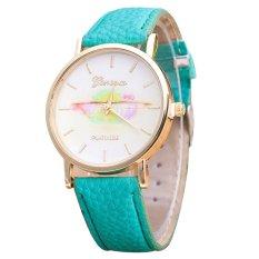 Geneva Women's Fashion Design Dial Leather Band Analog Quartz Wrist Watch Green (Intl)