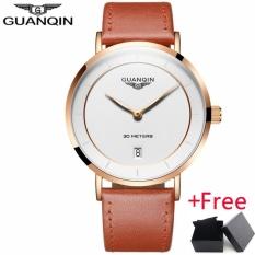 Genuine GUANQIN Fashion Mens Watch Jam Tangan es Top Brand Luxury Ultra Thin Quartz Watch Jam Tangan Men Casual Leather WristWatch Jam Tangan ,GS19070 - intl