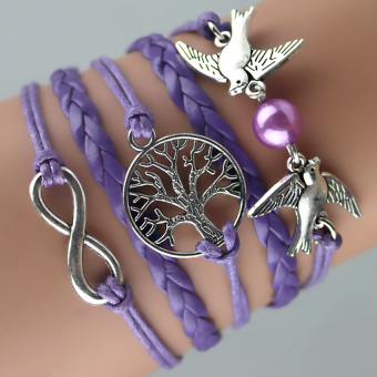 GETEK Leather Infinity Peace Dove Bird Tree Weave Suede Bracelet (Purple)