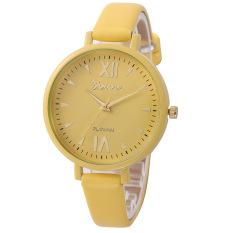 GETEK Women Geneva Roman Leather Band Analog Quartz Wrist Watch (Yellow)