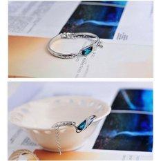 Glass Slipper Bracelet Purple Crystal 925 Sterling Silver / Gelang Wanita -biru