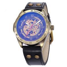 Goplm Brand Tags SHENHUA Retro Bronze Watches Men Fashion Vintage Skeleton Machinery Watch Male Clock Automatic Self Wind Wrist Watch