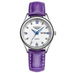 goplm GUANQIN Quartz Women's Watch Calendar Date Diamonds Luminous 100M Waterproof Leather Watch (Violet)