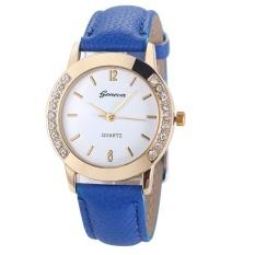 GoSport Geneva Fashion Women Classic Diamond Watches Analog Leather Quartz Wrist Watch (Light Blue) - intl