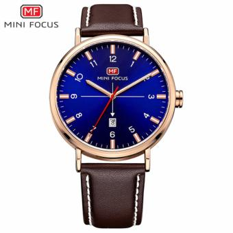 Great Premium MINI FOCUS MF0019G Brand Men 2017 Fashion Casual Watches Men Sport Military Quartz Analog Date Clock Man men Wristwatch Genuine Leather - Blue