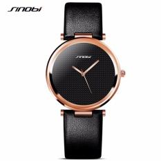 Great SINOBI 9393 New Fashion Minimalist Women's Rose Wrist Watches Leather Watchband Luxury Brand Simple Ladies Geneva Quartz Clock 2017 - Black Gold