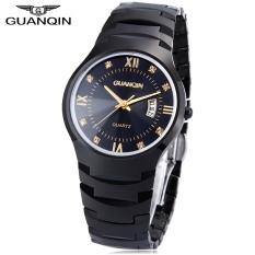 GUANQIN 6020G Male Quartz Watch Calendar 10ATM Artificial Diamond Dial Tungsten Steel Band Wristwatch