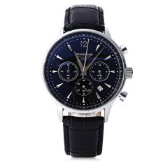 GUANQIN GQ001 Water Resistance Male Japan Luxury Quartz Watch Leather Watchband Working Sub-dials (BLACK) - Intl