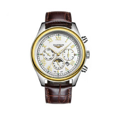 Guanqin GQ12002-1afs Quartz Men Watch Luminous Moon Phase (Gold White)