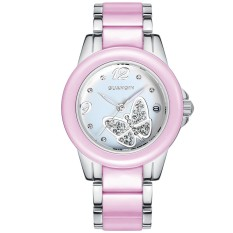 Guanqin GS19032fs Quartz Women Calendar Ceramic Watch Butterfly Dial (Pink)