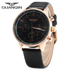 GUANQIN Male Leather Calendar Luminous Analog Quartz Watch With Moving Sub-dials - Intl