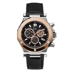 GUESS COLLECTION Gc-3 CHRONO X72005G2S - Chronograph - Jam Tangan Pria - Leather - Black - Rose Gold