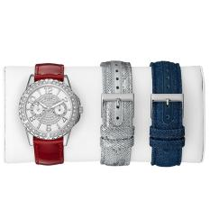 Guess - Jam Tangan Wanita - Silver-Putih - Strap Merah - W0858L2
