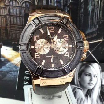 Guess Premium - Jam Tangan Pria - Leather Strap - Guess W0040G3