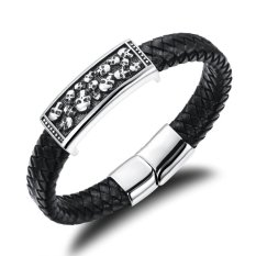 GUYUE Men's Fashion Genuine Leather Braided Bracelet Bangle with Full Skull Stainless Steel Plaque