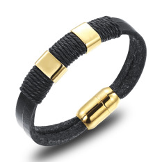 GUYUE Men's Fashion Genuine Leather Rope Bracelet Bangle Mix Stainless Steel Titanium Steel Golden