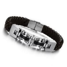 GUYUE Men's Fashion Genuine Silicone Braided Bracelet Bangle Mix Stainless Steel Titanium Steel