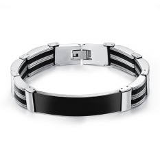 GUYUE Men's Fashion Simple Bracelet Bangle Stainless Steel Titanium Steel Mix Genuine Silicone Black