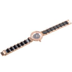 GZ-SMT Luxury Women's Watch KIMIO Brand Women Rhinestone Watches Plastic Strap Lady Quartz Wristwatch with Diamond Top Sell K485M-RGB Black + Gold