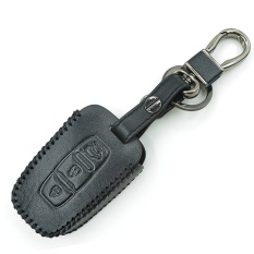 Hand Sewing Leather Auto Smart Type Car Remote Key Cover Case Holder For KIA Rio Soul (Black)