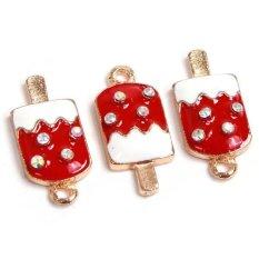 Hang-Qiao 20 Pcs Red&White Enamel Ice-cream Alloy Pendants Jewelry Gold (Intl)