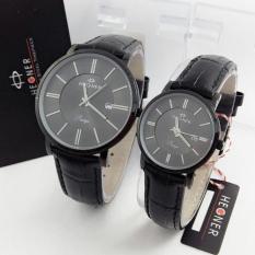 Hegner Casual - Jam Tangan Couple - Leather Strap - HG 304 Black Couple (Black)