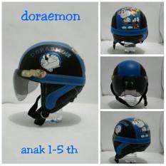 Helm Anak Lucu Karakter Doraemon usia 1 - 5 Tahun + Kaca Riben - Hitam/