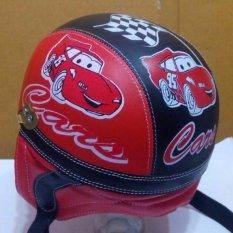 Helm Anak Lucu Retro Karakter mobil usia 1 - 5 Tahun + Kaca Riben - Hitam/Merah