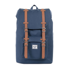 Herschel Little America Mid-Volume Classic Backpack - Navy-Tan Synthetic Leather