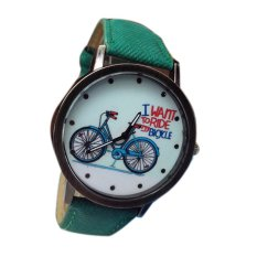 HKS Bicycle Pattern Unisex Green Leather Strap Watch (Intl)