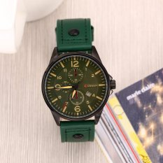 HKS Business Fashionable Date Display PU Watchband Watch For Men Green (Intl)