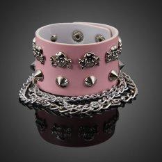 HKS European Style Rivets Skull Unisex Wide Bracelet Cuff Bangle Wristband Pink (Intl)