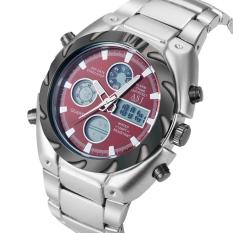 HKS Fashion Multi-Functional Men Electric Quartz Steel Wrist Watch (Red) (Intl)