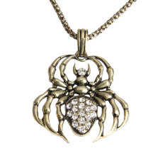 HKS Girl Boy Cool Spider Necklace Pendant Shiny Rhinestone Antique (Bronze) (Intl)