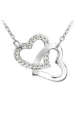 HKS Heart To Heart Crystal Rhinestone Lover Pendant Necklace White (Intl)