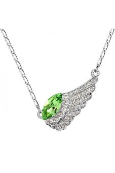 HKS HKS1422Qs Wings Tear Austria Crystal Necklace Olive