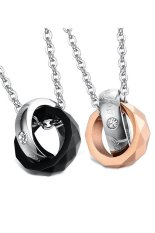 HKS HKS8067062353AI Titanium Steel Rhombus Rings Pendant Lovers Necklace Black and Rose Gold (Intl)