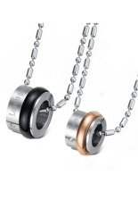 HKS HKS8145531960AI Titanium Steel Wheel Pendant Couple Necklace Black and Gold (Intl)