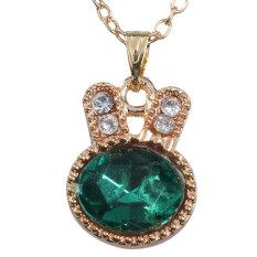 HKS Korean Style Golden Crystal Rabbit Pattern with Rhinestones Chain Necklace (Intl)