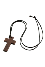 HKS Ladies Retro Wooden Cross Pendants Leather Necklace (Intl)