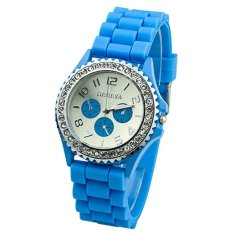 HKS Light Blue Crystals Rubber Silicone Gel Jelly Strap Watch (Intl)