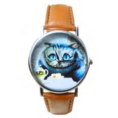 HKS Mens Womens Cat Pattern Faux Leather Quartz Dress Wrist Watch Brown (Intl)