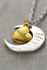 "HKS Necklace Charm Pendant "" I LOVE YOU "" Sister (Intl)"
