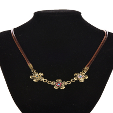 HKS Necklaces Double Leather Cord Three Flower Colorful (Intl)