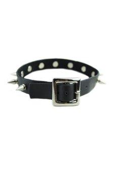 HKS Rivet Spikes Leather Belt Necklace Black